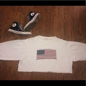 Cropped LA American flag crewneck sweatshirt